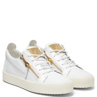 Giuseppe Zanotti Gz Frankie White Calfskin And Patent Low-top Sneaker - Best Deal Online