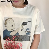 Summer Harajuku Vintage King of the Hill cartoon Bobby I need money pattern cotton white loose oneck short sleeve tshirt YQ-341