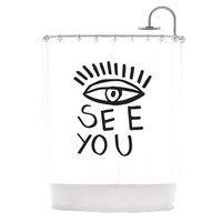 """Vasare Nar """"Eye See You"""" White Shower Curtain"""