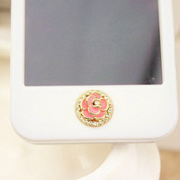 1PC Rose Flower w/Bling Crystal Frame iPhone Home by CharmsLand