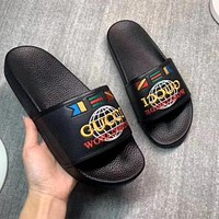 GUCCI embroidered letter logo slippers shoes