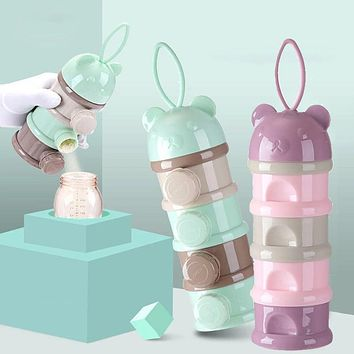 3 / 4 layers Bear Style Portable Baby Food Storage Box Essential Cereal Cartoon Infant Milk Powder Box Toddle Snacks Container