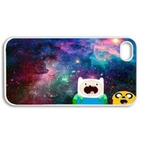 Apple iPhone 4 4G 4S Vintage Jake Finn Amazed Nebula Hipster Adventure Time Design WHITE Sides Slim HARD Case Skin Cover Protector Accessory Vintage Retro Unique AT&T Sprint Verizon Virgin Mobile