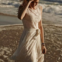 NWT ANTHROPOLOGIE by FLEUR WOOD WINDWARD LACE IVORY DRESS