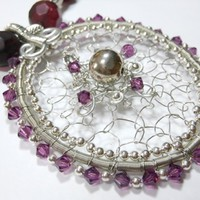 Purple and Silver Necklace with Wire Wrapped Pendant
