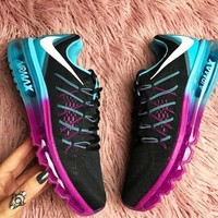 NIKE Trending Fashion Casual Sports Shoes AirMax Back hook section knited Blue Rose soles-1