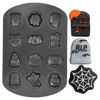 Halloween Cookie Shapes Non-Stick Pan ghost, spider, boiling pot, tombstone, cat, bat, monster, haunted house, candy corn and pumpkin.