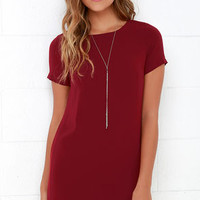 Shift and Shout Wine Red Shift Dress