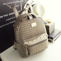 Gold Color Leather Backpack Travel Bag