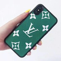 Louis Vuitton LV Fashion New Monogram Print Leather Women Men Protective Cover Phone Case Green