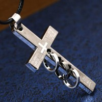 Stylish Shiny New Arrival Gift Romantic Love Titanium Jewelry Strong Character Couple Cross Rack Pendant Necklace [6542508611]