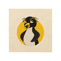 Rockhopper penguin cartoon wood wall art