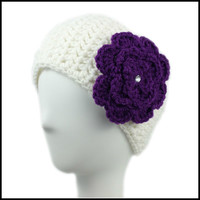 White Earwarmer with Purple Flower