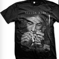 90s / Grunge / Chic Unisex Heroin Kids T-Shirt SEX, VIOLENCE, WHATEVER nude girl erotic porn drugs cocaine weed redlight