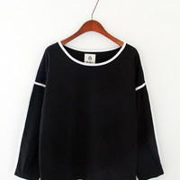 Black Sweater with White Lining