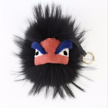 BEADY FUR MONSTER BAG CHARM - CHARLIE in GREY
