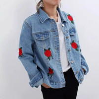 Fashion embroidery roses cowboy lapels  coat