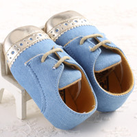 Blue with Gold Tip Baby Infant Shoes