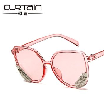 CURTAIN Brand Sunglasses Women Square Colorful Trendy Transparent Frame Angel Wings Rounded Glasses Hipster Eyewear Eyeglasses