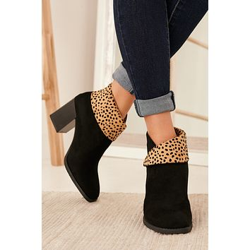 Mission Accomplished Fold Over Booties (Cheetah Print)