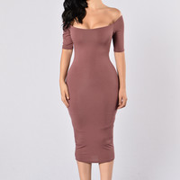 Always Running Late Dress - Red Brown