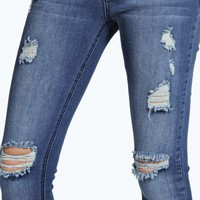 Evie Mid Blue Low Rise Super Skinny Jeans