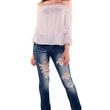 (akv) Off the shoulder thin stripes top