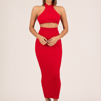 All Curves 2-Piece Rib Knit Maxi Dress