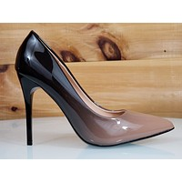 "In Demand Beige Patent Ombre Blend Pointy Toe Pump Shoe 4"" Stiletto High Heels"