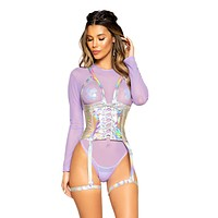Holographic Holster Lace-up Waist Cincher