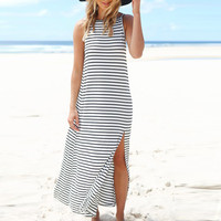 Striped Sleeveless Backless A-Line Slit Maxi Dress