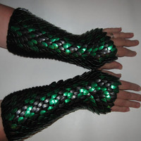 Scale Maille Gauntlets Knitted Dragonhide Armor by Crystalsidyll