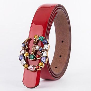 GUCCI New fashion multicolor GG buckle snake print stripe leather couple belt Red
