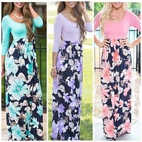 Maxi Floral Printed Dresses, Size Small - 2XLarge