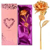 Hot Fashion 25cm 24K Dipped Gold Foil Rose Flower Gift For Birthday Valentine's Day Mother's Day