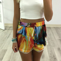 New Romantics Multi Color Lace Hem Drawstring Shorts