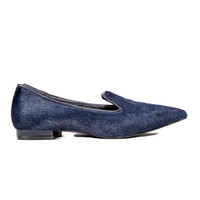 Navy Pony Hair Shoes Size:39