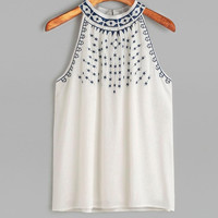 Sleeveless Tank Tops Female Floral Embroidered Women Cotton Tank Tops Casual T-Shirt crop tops femmes  #25 GS