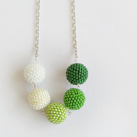 Green shades beadwork necklace, spring colors long necklace, white green beaded ball necklace, beadweaving necklace, fashion jewelry