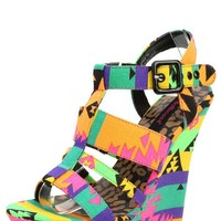Dollhouse Electric Black Multi Neon Aztec Strappy Wedge Sandals and Shop Shoes at MakeMeChic.com