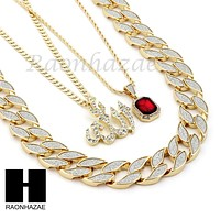 "RUBY ALLAH PENDANT 24"" 30"" CUBAN LINK ROPE CUBAN NECKLACE SET D021"