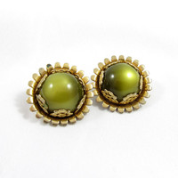 Emmons Clip On Earrings Gold Tone Olive Green MoonGlow Art Deco Vintage Designer Signed Costume Jewelry Prop Movie Runway Unique Sunflower