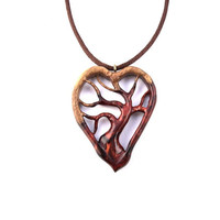 Wood Jewelry, Wooden Heart Necklace Pendant, Wood Tree of Life Pendant Necklace, Wooden Tree Necklace, Wooden Pendant, Hand Carved Pendant