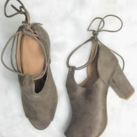 Stratosphere Taupe Open Toe Bootie