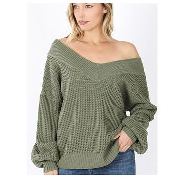 Balloon Sleeve Double V Neck Oversized Olive Sweater