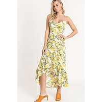 Lemon Print Asymmetrical Dress