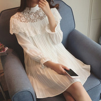 Korean Lace Mosaic Long Sleeve Pleated Chiffon One Piece Dress [4919456836]