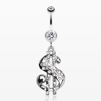 Dollar Sign Symbol Belly Ring
