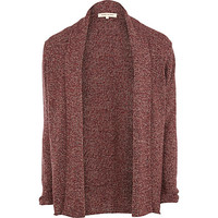 River Island MensDark red twist knit unfastened cardigan