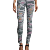 Halle Super-Skinny Jeans, Distressed Camo